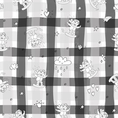 Cute seamless pattern with funny Animals. Vector Illustration.