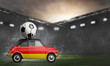 Leinwanddruck Bild - Germany flag on car delivering soccer or football ball at stadium