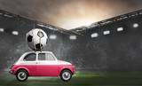 Poland flag on car delivering soccer or football ball at stadium - 208567125