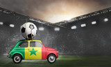 Senegal flag on car delivering soccer or football ball at stadium - 208567193