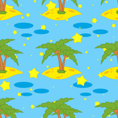 A seamless pattern of green palms on yellow sand on a blue background with stars