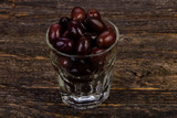 Black olives in the glass