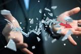 Businessman with broken crisis arrow 3D rendering - 208573954