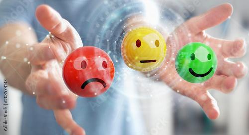 Businessman using customer satisfaction rating 3D rendering © sdecoret