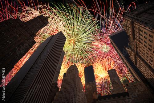Aluminium New York festive fireworks at night in New York.