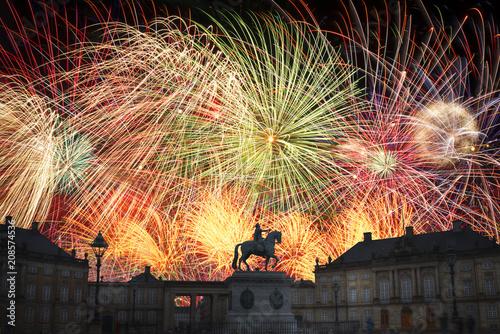 festive fireworks at night in Copenhagen.