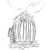 simple hand draw sketch trash and full, dirty trash bin - 208574768