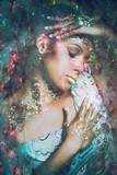 young black woman fantasy portrait double exposure - 208574917