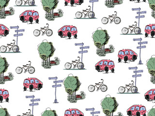 Vector hand drawn cars and bicycles. Seamless pattern.
