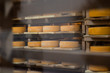 Leinwanddruck Bild - hard, pressed, cheese, manufacture, ageing, food, industry, yellow,