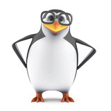 Vector 3d Academic penguin with hands on hips