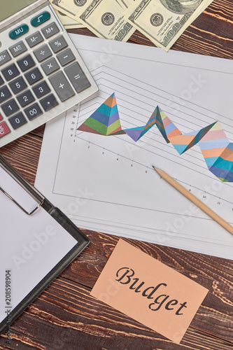 Finance and statistic analysing attributes, flat lay. Wooden desk background. - 208598904