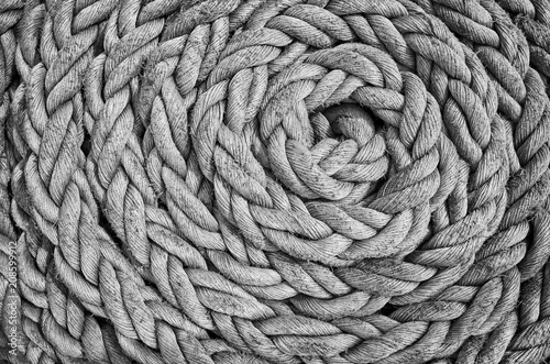 Fototapeta Black and white close up picture of an old sailing ship rope.