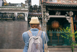 Young traveler taking pictures of the ancient city in asia style - 208603131