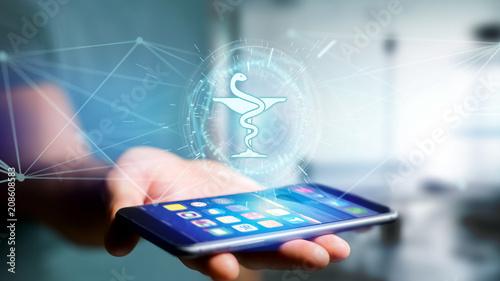 Fotobehang Apotheek Pharmacy medical icon on a futuristic interface