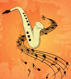 Illustration of saxophone and musical notes on stave, grunge background and texture.