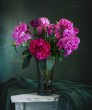 still-life with flowers. a bouquet of peonies. vintage. - 208613399