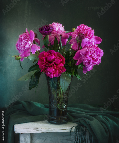 still-life with flowers. a bouquet of peonies. vintage.