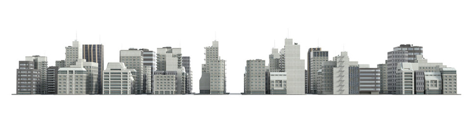 City and apartment buildings. 3d render.