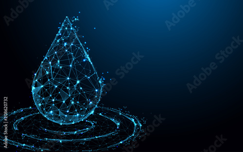 Water drop form lines, triangles and particle style design. Illustration vector