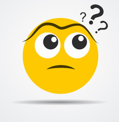 Isolated Questioning emoticon in a flat design