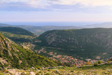 Panoramic view from above on the old city Kotor, Adriatic sea and mountains in Montenegro at sunset time, gorgeous nature landscape