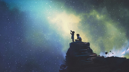 night scene of two brothers outdoors, llittle boy looking through a telescope at stars in the sky, digital art style, illustration painting © grandfailure