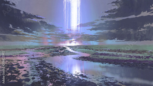 night scenery of water road against black clouds and waterfall in the sky, digital art style, illustration painting © grandfailure