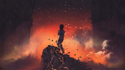 man shattered into pieces standing a lava rock in surreal place, digital art style, illustration painting © grandfailure