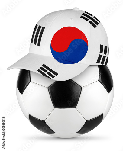 Classic black white leather soccer ball south korea korean flag baseball fan cap isolated background sport football concept