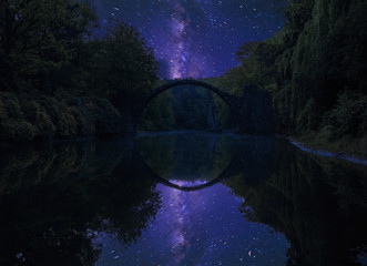 devil's bridge in Kromlau on a starry night © Mike Mareen