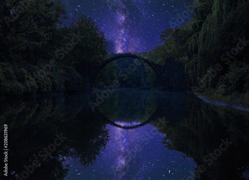 devil's bridge in Kromlau on a starry night