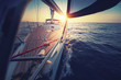 Sunset at the Sailboat deck while cruising / sailing at opened sea. Yacht with full sails up at the end of windy day. Sailing theme - background. Yachting design. - 208632966