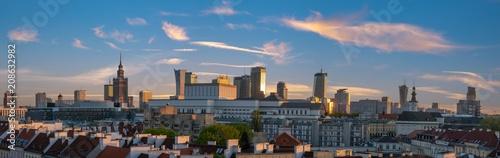 panoramic view of modern sentrum Warsaw during sunset - 208632982
