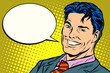smiling businessman speech comics bubble - 208634316
