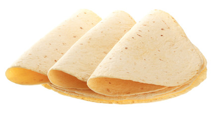 Yellow tortillas isolated on white background.