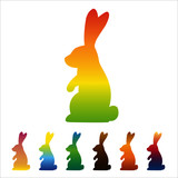 Rabbit, hare icon, gradient silhouette on white background