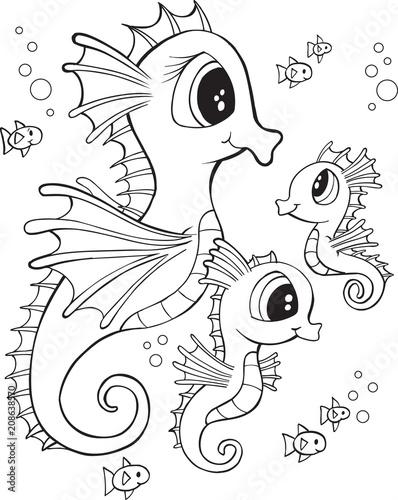 Fotobehang Cartoon draw Cute Seahorse Family Vector Illustration Art