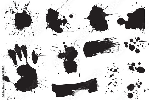 Foto Spatwand Cartoon draw Brush strokes and Paint Splatters Vector set