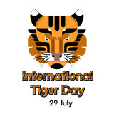 International Tiger day poster template with tiger head. Vector Illustration.