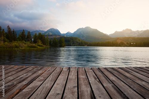 Aluminium Zomer Alpine mountain lake sunny morning view. Strbske pleso, Slovakia