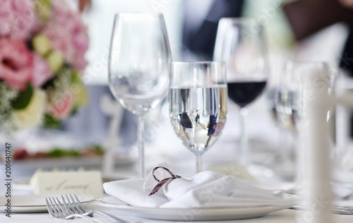 Close-up image of a table on a festive event, party or wedding reception. - 208640747