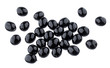 Heap of black olives isolated on white background with clipping path. Top view