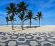Quadro Famous Ipanema Mosaic Sidewalk With Coconut Trees in the Beach, in Rio de Janeiro, Brazil