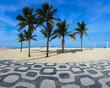 Quadro Famous Ipanema Mosaic Sidewalk With Palm Trees in the Beach, in Rio de Janeiro, Brazil
