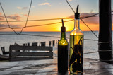 Olive Oil and Vinegar Bottle with Chili Pepper in the Holbox Island Sunset, Mexico - 208650305