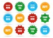 Sale star shape badges. Vector starburst promo stickers, sunburst promotion button isolated on white background - 208653942