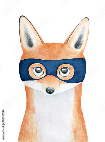 Young charming pretty little fox character portrait wearing dark blue superhero mask. Hand drawn water color graphic painting on white background. Greeting card, print design, children room poster. - 208658994