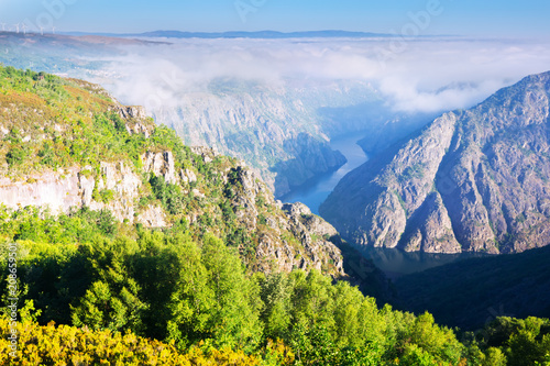 Fotobehang Bergrivier Rocky landscape with river