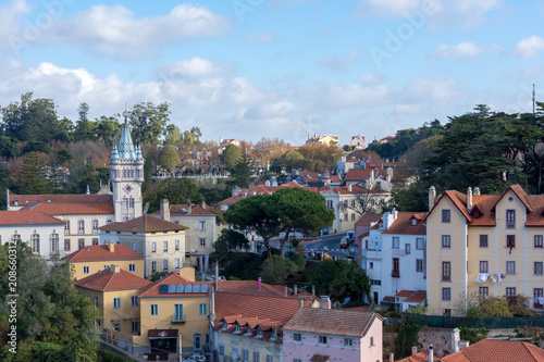Fotobehang Smalle straatjes Sintra, Portugal. December 2017. View of Sintra city in early winter ready for the arrival of tourists.